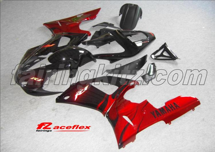 YZF R1 2000-01 Black & Red flames