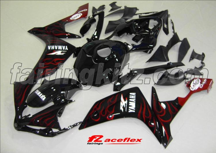 YZF R1 2007-08 Black & Red Flames