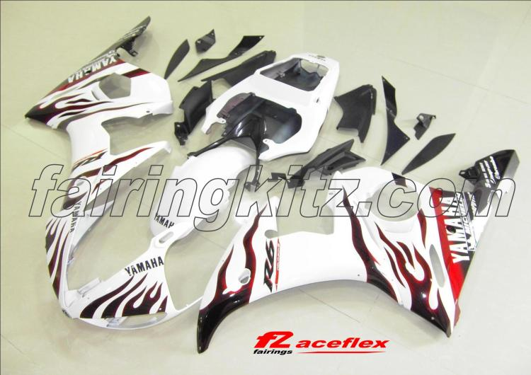 YZF R6 2005 White & Red flames