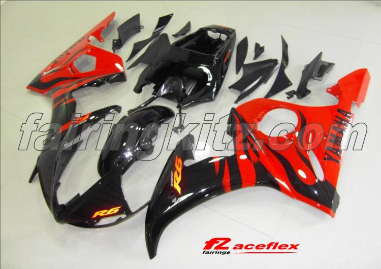 YZF R6 2005 Black & Red Flames