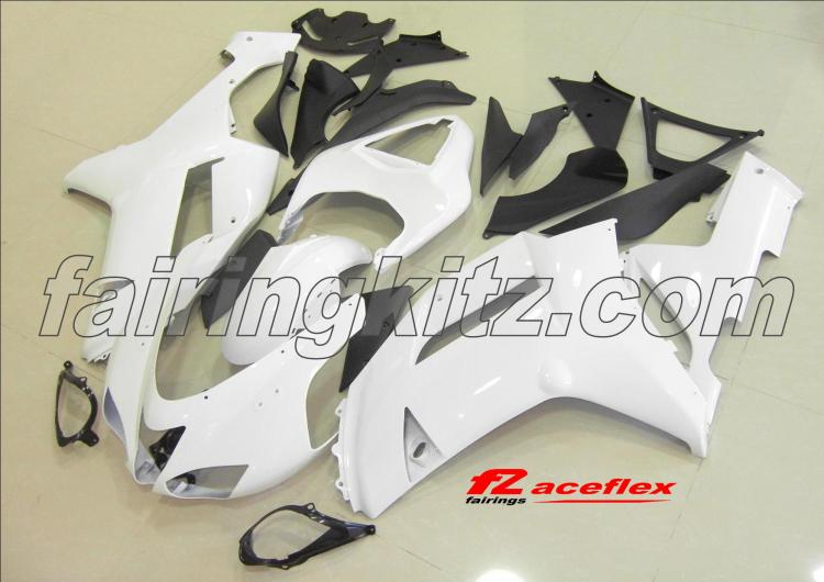 ZX6R 2007-08 White & Black no stickers